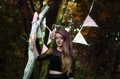 Yay it's me... Photoshoot in the woods with bunting flags and a lovely 1.8 lens. Photography by Karl Smart.