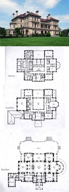 Floorplans for Gilded Age Mansions. - SkyscraperPage Forum The Breakers, Newport, Rhode Island Floorplans for Gilded Age Mansions. - SkyscraperPage Forum The Breakers, Newport, Rhode Island House Plans Mansion, Sims House Plans, Dream Mansion, Dream House Plans, Castle House Plans, Castle Floor Plan, Victorian Castle, Architecture Classique, Farmhouse Floor Plans