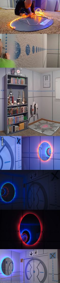 """portal 2 bed room, I have no idea what a """"portal 2"""" is for, but I want that mirror with the lights behind it."""