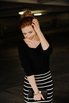 Monochrome black with a striped skirt for the office