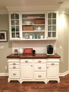 An Epic Painted Kitchen Cabinet Transformation - Evolution of Style Refurbished Furniture, Repurposed Furniture, Furniture Makeover, Kitchen Redo, Kitchen Remodel, Kitchen Design, Upcycled Kitchen Cabinets, Repurposed China Cabinet, Refinished China Cabinet