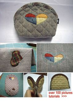 Japanese patchwork quilt bag / zipper pouch sewing purse DIY tutorial. http://www.handmadiya.com/2015/09/japanese-patchwork-purse-tutorial.html
