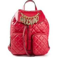 Moschino quilted backpack ($2,585) ❤ liked on Polyvore featuring bags, backpacks, bolsas, red, leather daypack, red backpack, leather backpack, leather backpack bag and backpacks bags
