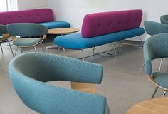 Mollie and Freeflow were a great pair for this breakout area Breakout Area, Employee Wellness, Office Furniture, Sofa, Traditional, Cool Stuff, Chair, Home Decor, Settee