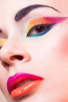 Bright Like Neon Love - Makeup Artist – Lina Toro 1980 Makeup, Love Makeup, Makeup Inspo, Makeup Art, Makeup Inspiration, Beauty Makeup, Makeup Looks, Gorgeous Makeup, Extreme Makeup