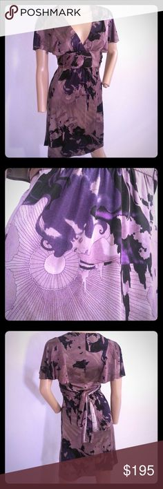 """Vintage Betsey Johnson Purple Forest Lady Dress Awesome Betsey Johnson NY Jersey Silk Dress  Size 2  100% Silk, Jersey Feel  Really cool Purple Forest and Gypsy like lady print  No holes or stains. Has very light piling and wear  Ties at the back  Bust across the front 16""""  Length 35.5""""   If you have any questions please ask! Betsey Johnson Dresses"""
