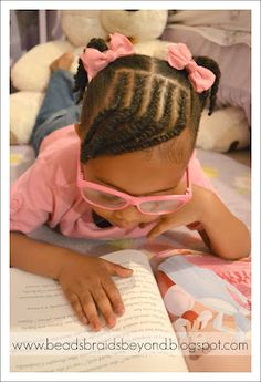 This is too cute!! Cornrows & twisted bangs with pigtails