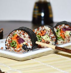 These healthy and simple vegetable sushi rolls are easy to make and you can fill them with a variety of your favorite vegetables.