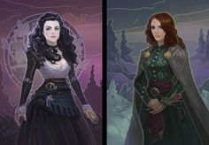 Yennefer of Vengerberg and Triss Fan art Female Character Concept, Character Creation, Character Art, Character Design, Character Ideas, The Witcher Geralt, Witcher Art, Fantasy Inspiration, Character Inspiration