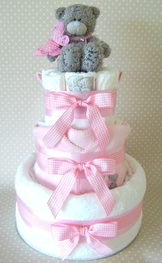 Pink Nappy cake with Tatty Teddy theme.