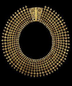 Filigree Necklace  Place of origin: Calicut, India (made)  Date:ca. 1850 (made)  Materials and Techniques:  Gold wire, with stamped florets and applied flat discs and hemispheres