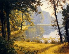 A Lily Pond by Henri Biva - OilPaintings.com