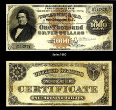 $1000 Silver Certificate Fr. 346d by Numismatic Bibliomania Society, via Flickr.  One of only five known, this 1880 $1,000 Silver Certificate of Deposit (Fr. 346d) will be part of a $5 million display 19th century U.S. bank notes at the February 2013 Long Beach Expo. (Photo courtesy of Numismatist Financial Group, Inc.)