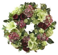 """30"""" Amaryllis & Rose Wreath, Faux,The amaryllis and the rose are two of the more romantic flowers, in part because of their lavish blooms. This handcrafted faux-floral wreath lets you luxuriate in their beauty year-round.$249"""