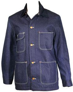 1960s Wrangler Railroad Denim Chore Jacket at ballyhoovintage.com