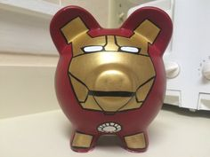Marvel Iron Man Superhero Avengers Hand Painted Ceramic Piggy