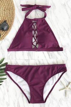 Cupshe Queen Plum Seduction Halter Bikini Set