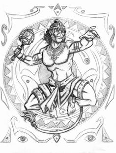 The Mighty Hanuman, by JRtheMonsterboy (www.deviantart.com)   May look nice next to my Ganesha tattoo?
