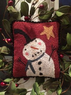 I took an old Create and Decorate magazine rug hooking pattern and resized it for punch needle. Love this jolly guy!