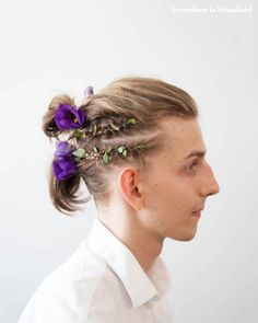 Guys with flowers in