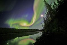 Swirling Sept 2012 aurora near Whitehorse in Canada's Yukon Territory.
