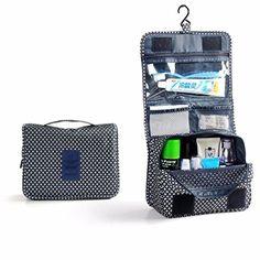 Ouneed® voyage de poche pendaison trousse de toilette sac de Voyage clair transport cosmétique cas toilette (Bleu profond)