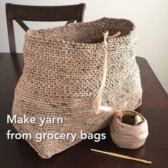 Publix grocery/shopping bags cut into strips/loops, connected and wound into yarn (plarn), used for crocheting totes and other bags.. Crochet, Crochê, Bag, Yarn, Making,