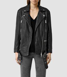 Womens Laurel Leather Biker Jacket (Black) - product_image_alt_text_1