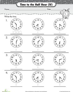 Worksheets: On the Half Hour: Telling Time with Clockwork Cat