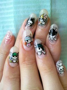 Omg one piece nails - Geeky Nails - Clou Pirate Nail Art, Pirate Nails, Casual Cosplay, Nail Art Manga, Anime Nails, Pirate Wedding, Water Nails, Anime One Piece, Kawaii Nails