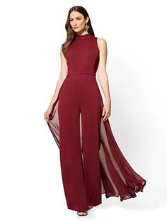 Chiffon-Overlay Jumpsuit - New York & Company Prom Outfits, Classy Outfits, Semi Formal Outfits For Women Wedding, Burgundy Pants Outfit, Jumpsuit For Wedding Guest, Ideias Fashion, Fashion Dresses, Chiffon, Clothes For Women