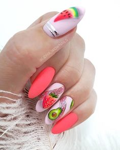 Fruit Nail Designs, Nail Art Designs, Nail Polish Colors, Gel Polish, Coffin Nails, Acrylic Nails, Fruit Nail Art, Flower Nail Art, Nail Manicure