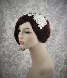 Ivory Bridal Hair Piece - White Bridal Hair Flower, Bridal Fascinator, Birdcage veil, Bridal Hair Accessories - Lace and flower hair piece
