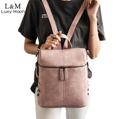 3d824deedb Leather Backpack Vintage  Backpack  Leather  Vintage  CasualBags  Students   Bags Simple