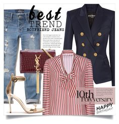 """Celebrate Our 10th Polyversary! 3037"" by boxthoughts ❤ liked on Polyvore featuring Hollister Co., Balmain, Yves Saint Laurent, RED Valentino, Gianvito Rossi, polyversary and contestentry"