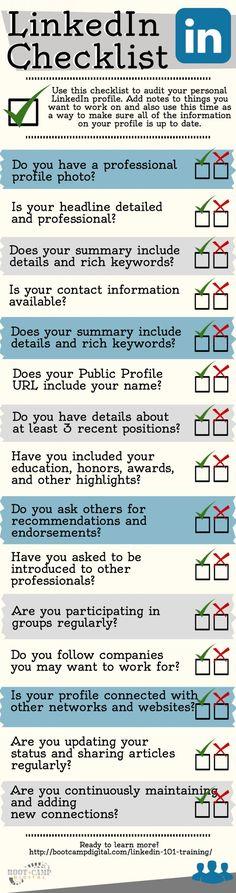 LinkedIn101.com/?utm_content=buffer8263f&utm_medium=social&utm_source=pinterest.com&utm_campaign=buffer: LinkedIn Checklist [Infographic] -