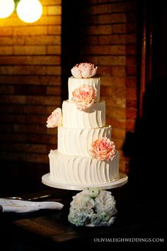 Amy Beck Cake Design - Chicago, IL - 4 Tier textured buttercream wedding cake with hand made sugar peonies