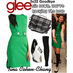 Tina Cohen-Chang (Glee) : Sit Down, You're Rocking The Boat by aure26 on Polyvore featuring polyvore, fashion, style, clothing and glee