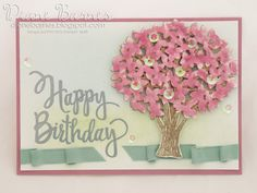 Birthday card using Stampin' Up Thoughtful Branches bundle & Stylised Birthday stamp. By Di Barnes 2016 annual catalogue Creative Class, Cardmaking, Stampin Up, Birthday Cards, Paper Crafts, Branches, Scrapbook, Thoughts, Holiday