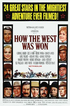 How the West Was Won (1962)The film won three Academy Awards for:     Best Writing, Story and Screenplay – Written Directly for the Screen,Best Film Editing, Best Sound.It was also nominated for: Best Picture, Best Art Direction – Set Decoration, Color, Best Cinematography,Color,Best Costume Design, Color, Best Music, Score.