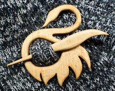 Wooden shawl pin swan