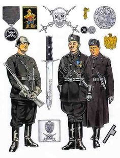 MVSN - The musketeers of the Duce had a choice of the Voluntary Militia Department of Homeland Security, founded by Mussolini on 11 February Italian Empire, Italian Army, Ww2 Uniforms, German Uniforms, Military Gear, Military History, Military Drawings, German Soldiers Ww2, Armed Forces