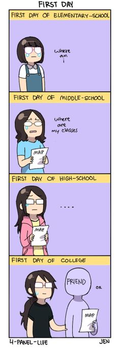 The first day of middle school, i got lost on my way to choir.....i eventually got there heh.