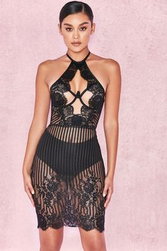 Clothing : Bodycon Dresses : 'Francisca' Black Lace & Tulle Halter Dress + Briefs