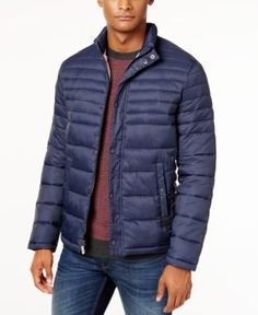 Kenneth Cole Quilted Packable Puffer Coat - Blue XXL