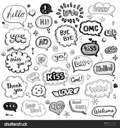 Hand drawn set of speech bubbles with di. Hand drawn set of speech bubbles with dialog words: Hello, Love, Bye, Hi. Bullet Journal Banner, Bullet Journal Art, Bullet Journal Ideas Pages, Bullet Journal Inspiration, Doodle Drawings, Cute Drawings, Word Doodles, Spongebob Birthday Party, Sketch Notes