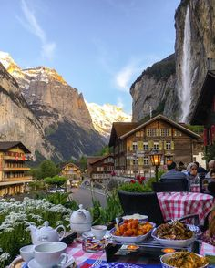 "Hubby and I looked at this photo for a long time, amazed at the beauty of this spot... Now on Pinterest, ""Dinner in Lauterbrunnen"", Switzerland posted by Reddit user Mark_dawsom via Tumblr. Talk about your world travel! ~~ Houston Foodlovers Book Club"