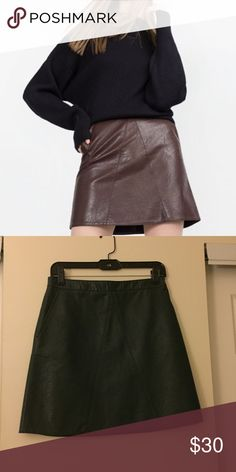 "Zara A-Line faux leather skirt Dark green/teal Zara A-line leather skirt with pocket. Never worn. Would look super cute with OTK boots 😉. Has exposed zipper in the back.   🚩PLEASE READ: Instead of asking ""lowest?"" Submit a offer. I don't trade & no offsite transactions. Posh only. No Holds. zara Skirts A-Line or Full"