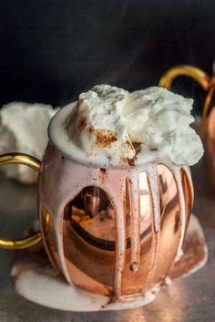 Dark Hot Chocolate with Whipped Mascarpone Cream
