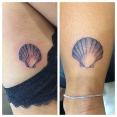 Scallop shell tattoos made by Kris Smith.